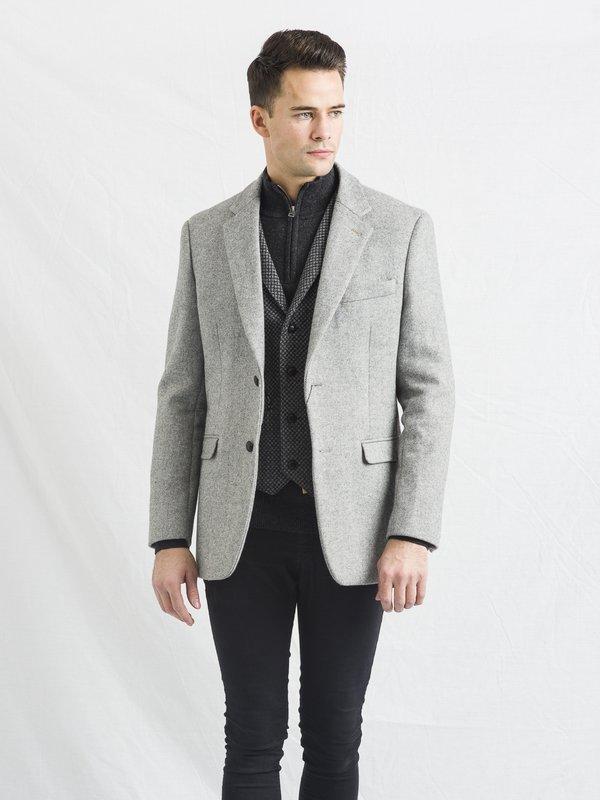 Muireann - Veste en tweed gris clair de coupe classique