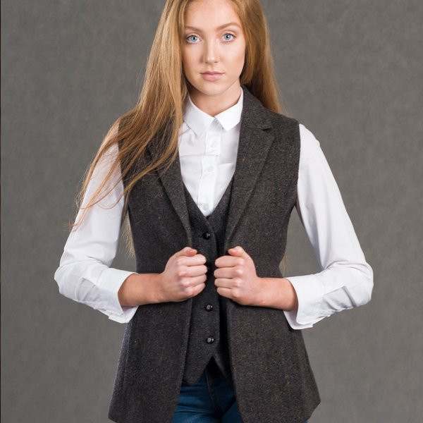 Ladies Brown Tweed Gilet