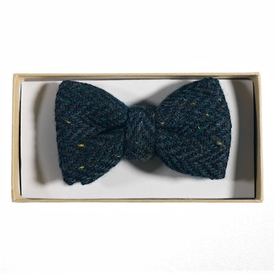 WB Yeats Irish Blue Herringbone Bowtie