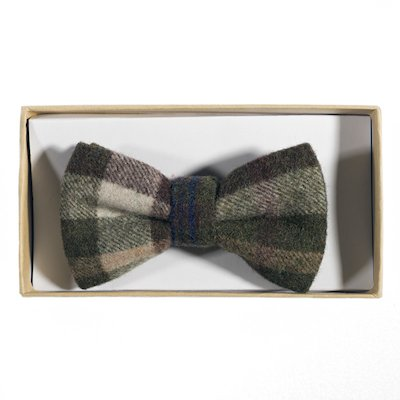 Check Wool Bow tie. - Mid Green