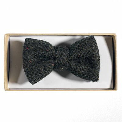 Green  Herringbone Tweed Bowtie