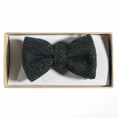 Green  Herringbone Tweed Bowtie