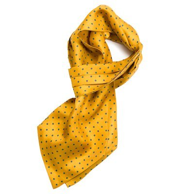 Orange Silk Cravat Yellow design - Medium Orange