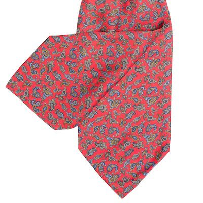 Red Cravat with Navy - Medium Red