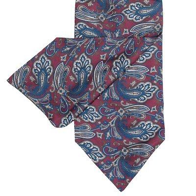 Red Silk Cravat with Teal design