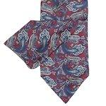 Cravate en soie rouge à motif bleu sarcelle