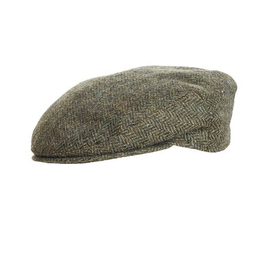 Green Donegal Tweed Flat Cap - Dark Green