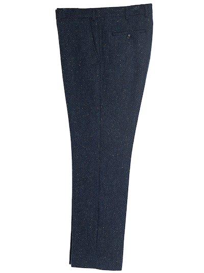 Pantalon en tweed bleu irlandais à chevrons