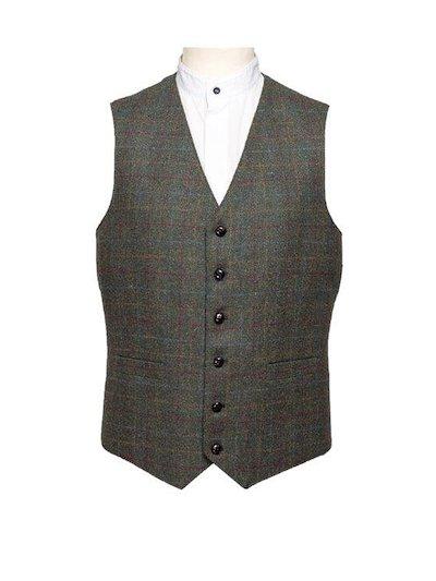 Green Checked Waistcoat - Green
