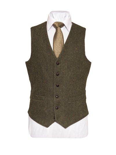 McDonagh Tweed Herringbone Wool Waistcoat - Green