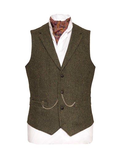Pearse Tweed Herringbone Wool Waistcoat - Green