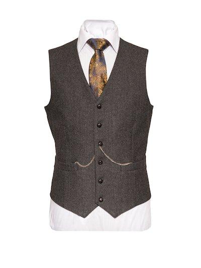 Behan Tweed Waistcoat - Grey