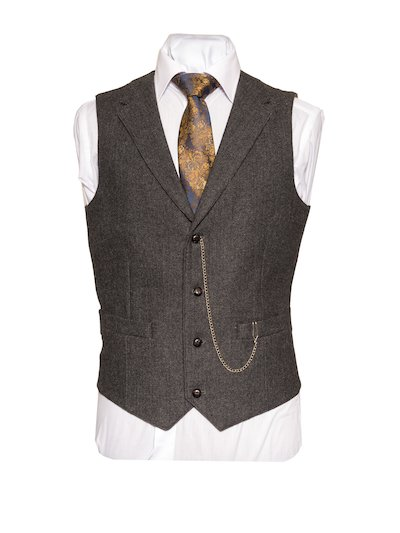 Behan Tweed Waistcoat with Revere - Grey