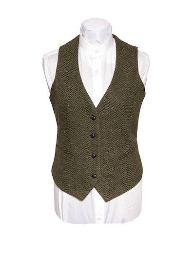 Ladies Green Tweed Herringbone Waistcoat
