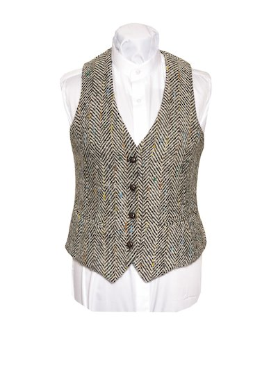 Ladies Grey Herringbone Waistcoat - Grey
