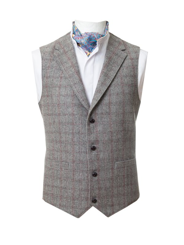 Checked  Waistcoat With Revere - Light Grey
