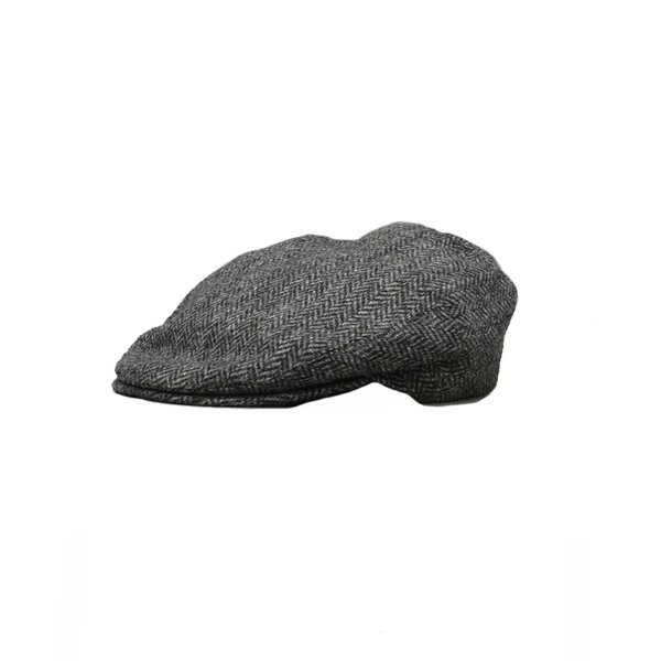 Casquette plate en tweed Donegal, grise