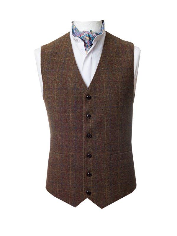 Brown Check Tweed  Waistcoat - Brown