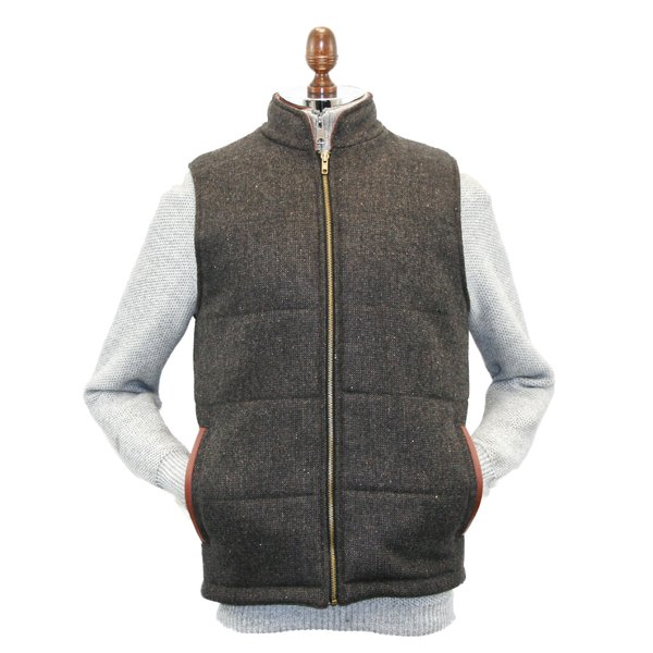 Men's Brown Tweed Body  Warmer And Gilet With leather Trims - Brown