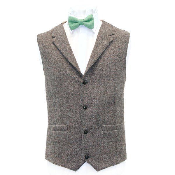 Light Brown Tweed  Waistcoat - Light Brown