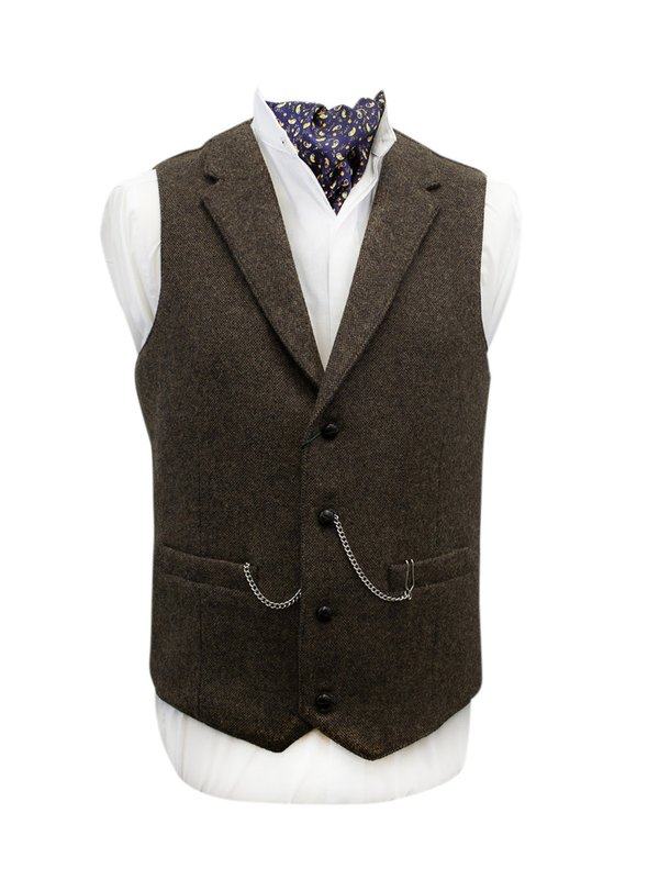Burns Barleycorn Brown Waistcoat with Revere - Medium Brown