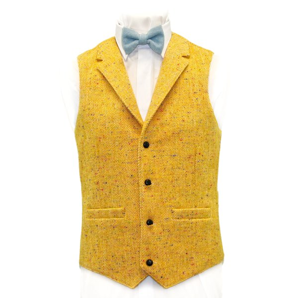 O Brien Yellow  Herringbone  Tweed Waistcoat with Silk  and Revere