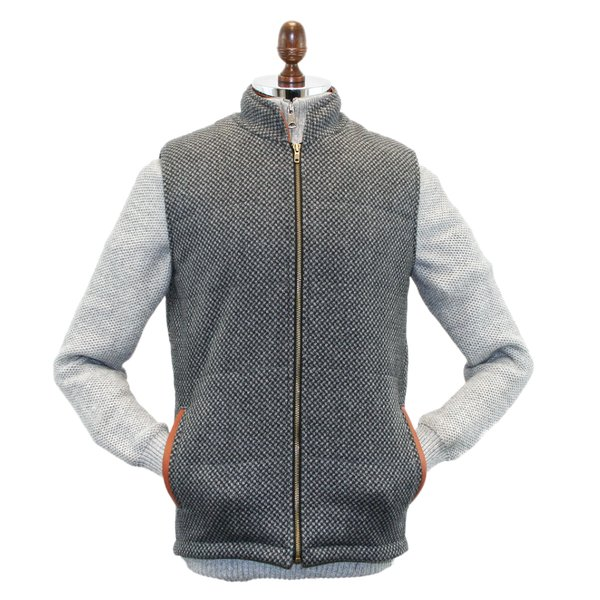 Griffin Dark Grey with Light Grey Diamond Pattern Tweed Body Warmer with Leather Trims - Dark Grey