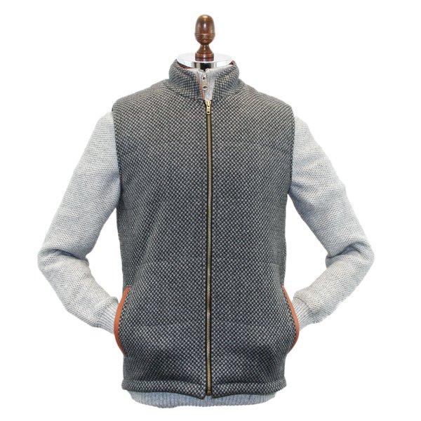 Gilet matelassé Griffin en tweed gris foncé et gris clair à motifs de diamants avec garniture en cuir