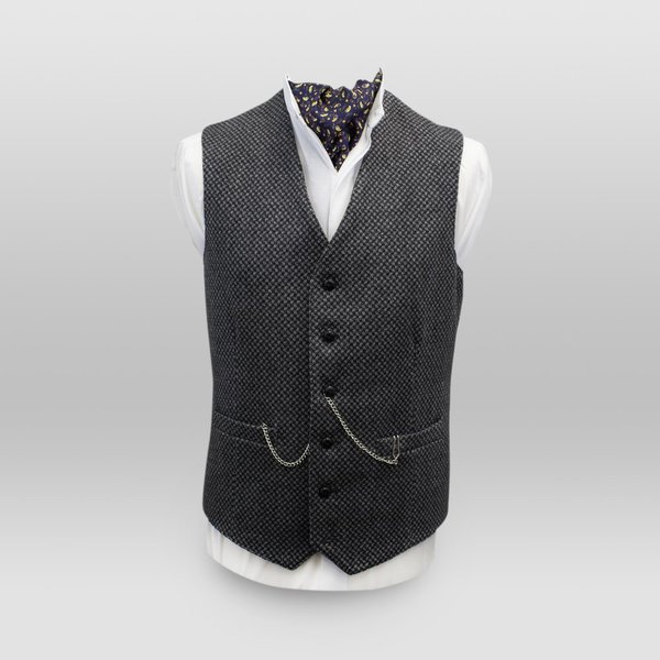 Griffin Dark Grey with Light Grey Diamond Pattern Tweed Waistcoat