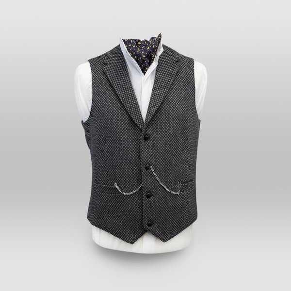 Griffin Dark Grey with Light Grey Diamond Pattern Tweed Waistcoat with Revere