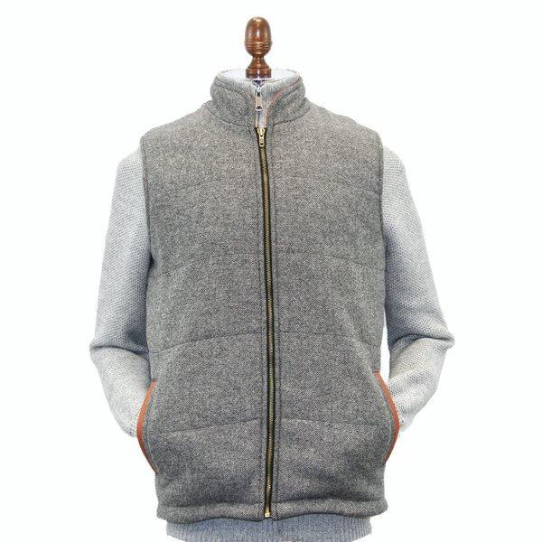 Mens Light Grey Tweed Body Warmer And Gilet Trimmed With Leather
