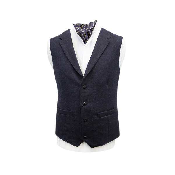 Ryan Navy Tweed Waistcoat with Revere