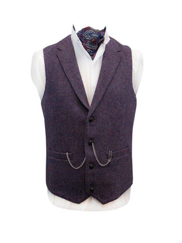 Moore Mulberry Tweed Waistcoat - Dark Purple