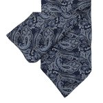 Navy and Cyan Cravat with  Paisley Design