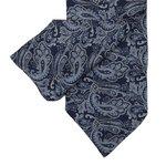 Cravate à motif cachemire bleu marine et cyan