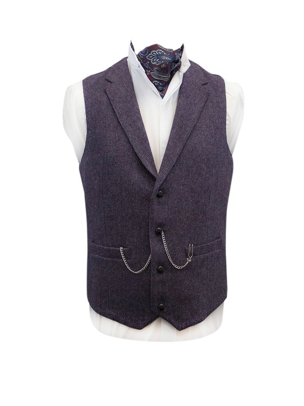 Moore Mulberry Tweed Waistcoat