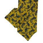 Mustard  Silk Cravat with Navy Paisley Design