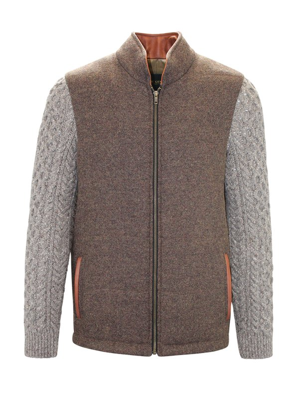 Mid Brown Shackleton Jacket with Rocky Road Cable Knit Sleeve