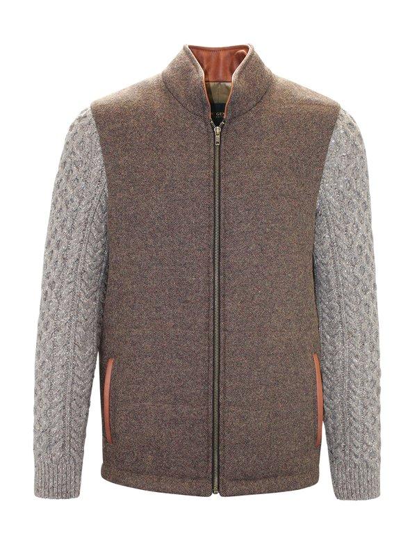Veste Shackleton brun moyen avec manches en tricot torsadé Rocky Road