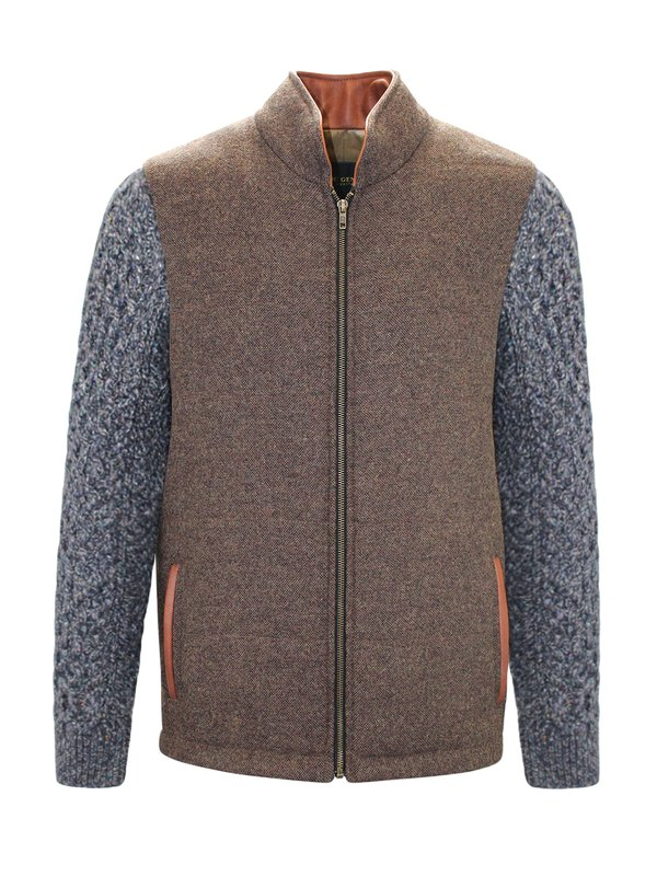 Mid Brown Shackleton Jacket with Navy Marl Cable Knit Sleeve