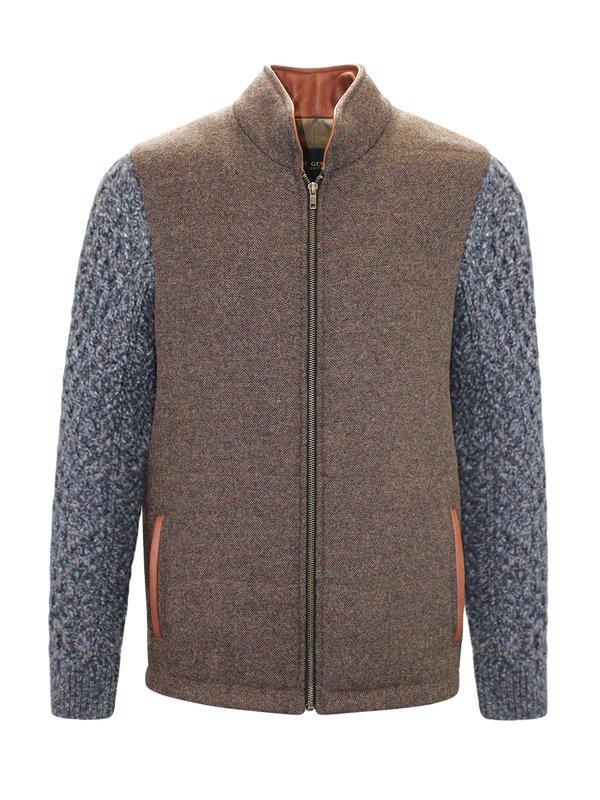 Veste Shackleton marron moyen avec manches en tricot torsadé bleu marine