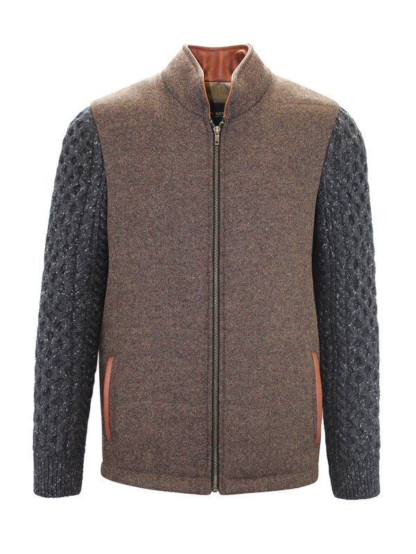 Mid Brown Shackleton Jacket with Charcoal Cable Knit Sleeve - Medium Brown