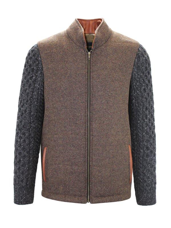 Veste Shackleton brun moyen avec manches en tricot torsadé gris anthracite