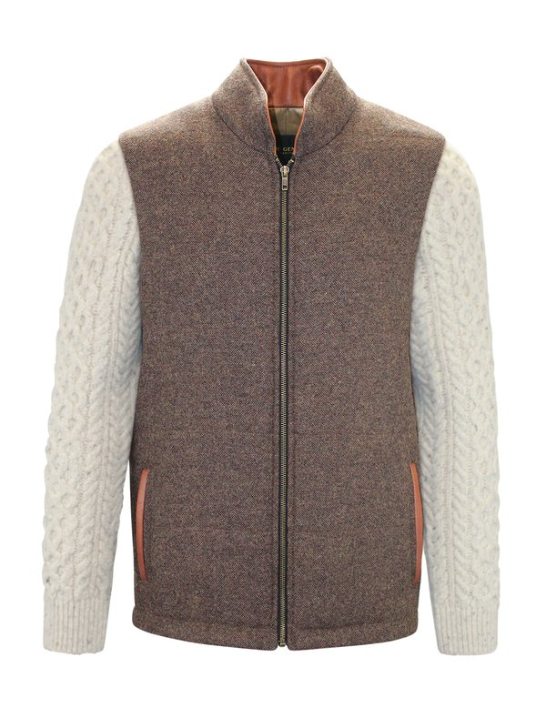 Mid Brown Shackleton Jacket with Natural Cable Knit Sleeve - Medium Brown