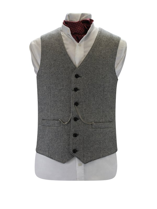 Light Grey Tweed Waistcoat - Light Grey