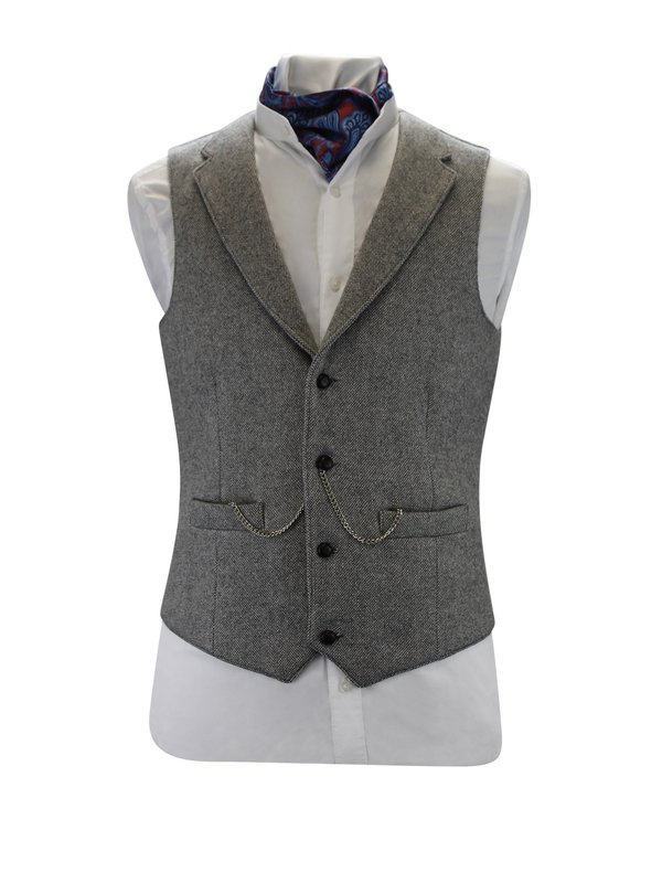Light Grey Tweed Waistcoat With Revere
