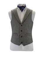 Gilet en tweed gris clair avec revers
