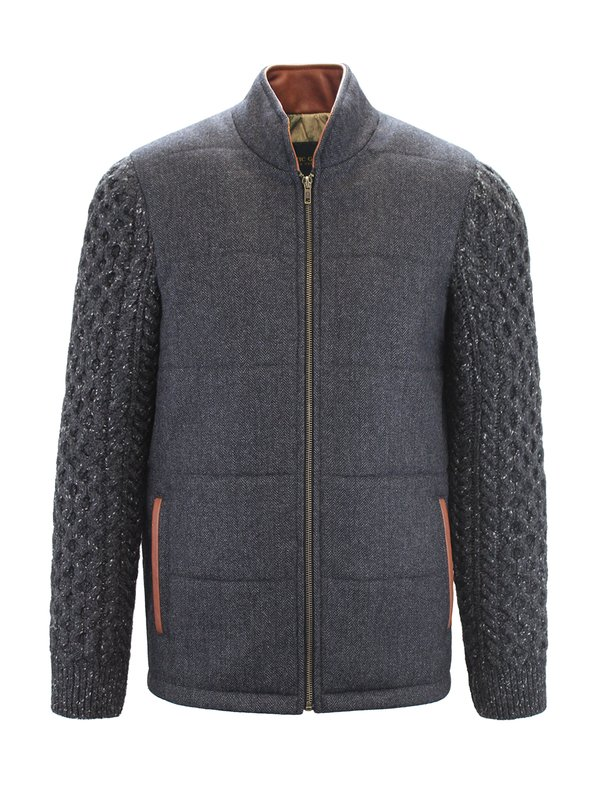 Grey Shackleton Jacket with Charcoal Cable Knit Sleeve