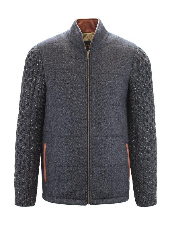 Veste Shackleton grise avec manches en tricot torsadé gris anthracite