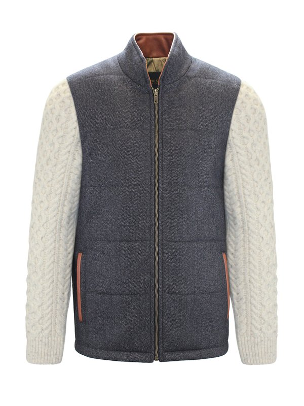 Grey Shackleton Jacket with Natural Cable Knit Sleeve